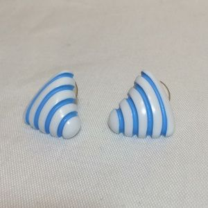 2/$15 Vintage '80s White & Blue Striped Triangle